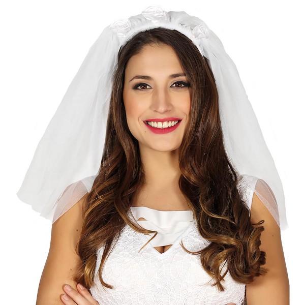 Brautschleier aus Tüll an Haarreif mit Rosen