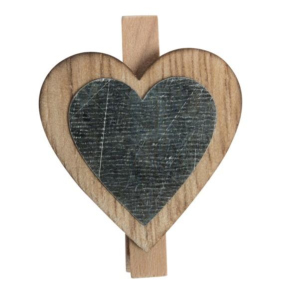 18 tlg. Set Herzen aus Holz mit Mini-Klammer ca. 4,8 x 3,6 cm