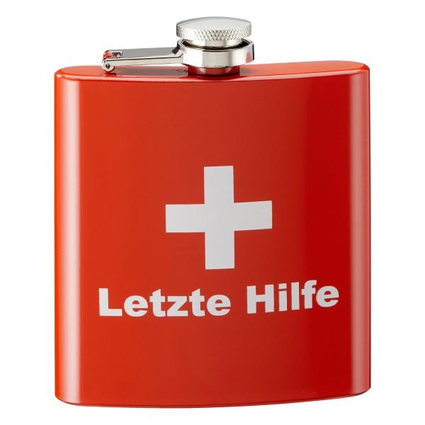 Flachmann LETZTE HILFE aus Edelstahl 170 ml