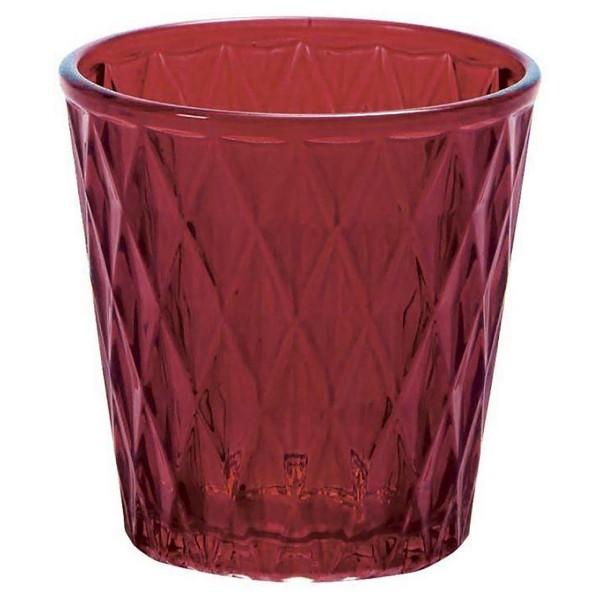 12 x Teelichtgläser, Rautenstruktur, weinrot H 7,5 cm
