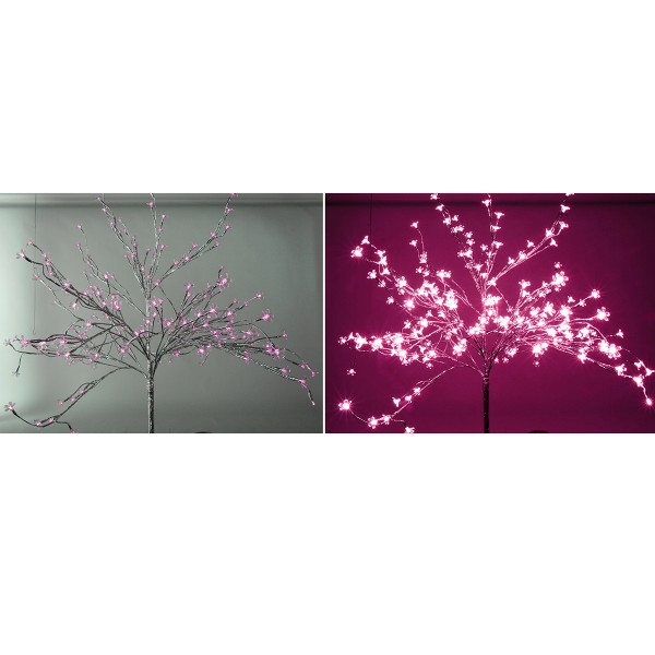 LED-Baum silber - 200 pinke LEDs, H 150 cm - outdoor