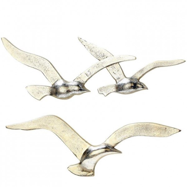Wandobjekt Vogel MÖWE JONATHAN aus Aluminium L 34 - 39