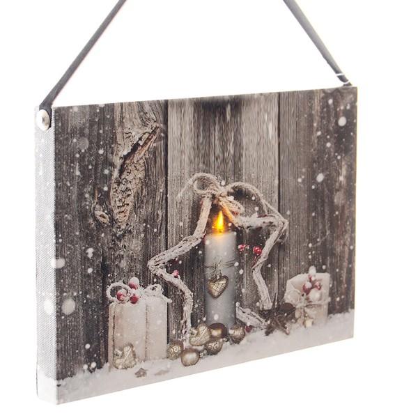 """Bild """"Weihnachten"""" mit Band und LED, 22 x 15 cm"""