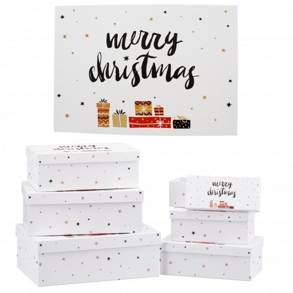 6-teiliges Set Geschenkboxen mit Deckel für Weihnachten