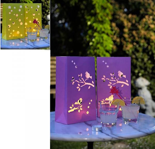8-tlg. Set Deko-Lichttüten für Teelichte, 2 Farben