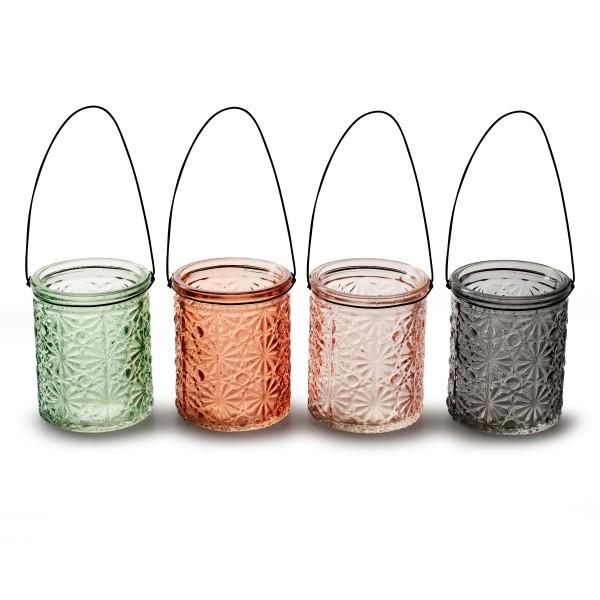 Teelichtgläser KIARA mit Henkel zum Hängen H 7,5 cm