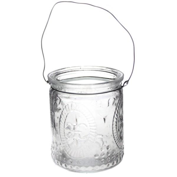 6 Stück Windlichter aus Glas mit Henkel