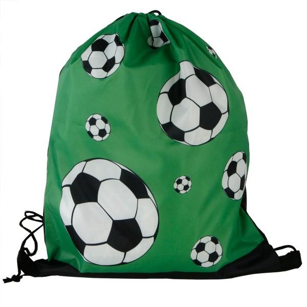Turnbeutel Fußball mit schwarzer Kordel aus Polyester