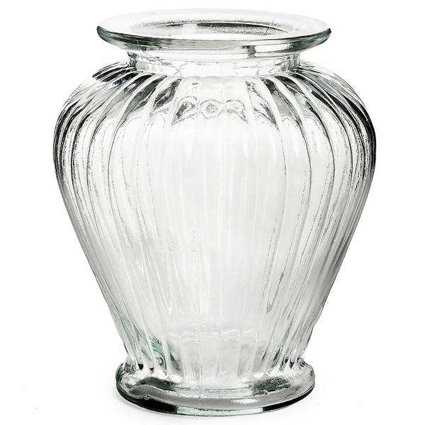 Vase aus Glas in geriffelter Optik 16 x 20 cm