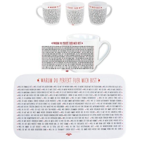 """""""PERFEKT"""" Frühstücksbrett mit passender Tasse"""