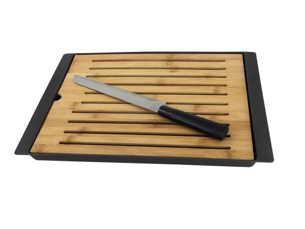 Schneidebrett aus Bambus mit Messer 38,5 x 27 cm