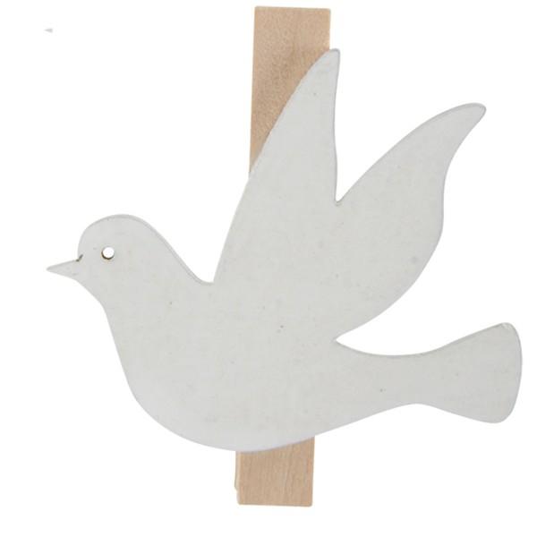 36-tlg. Set Taube aus weissem Holz mit Clip