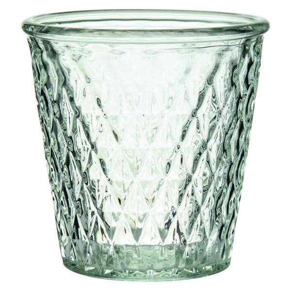12 x Windlichter aus Glas in apartem Rautendesign H 12 cm / 13,5 cm