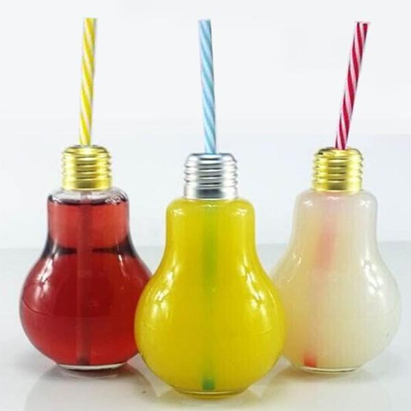 """6 x Trinkgläser """"Glühbirne"""" mit Trinkhalm"""