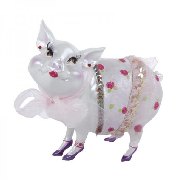 """Sparschwein """"Lady Piggy"""" weiß mit Blümchen, 17 cm"""