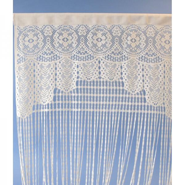 Vorhang, Türvorhang oder Raumteiler in Häkeloptik, weiß