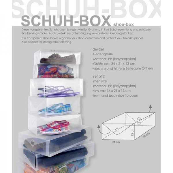 Schuh-Boxen 2er Set, für Herrengrößen