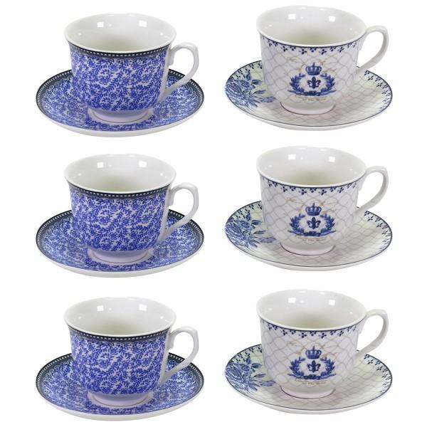 6-tlg. Set Tassen, Porzellanbecher und Espressotassen im Delft-Style