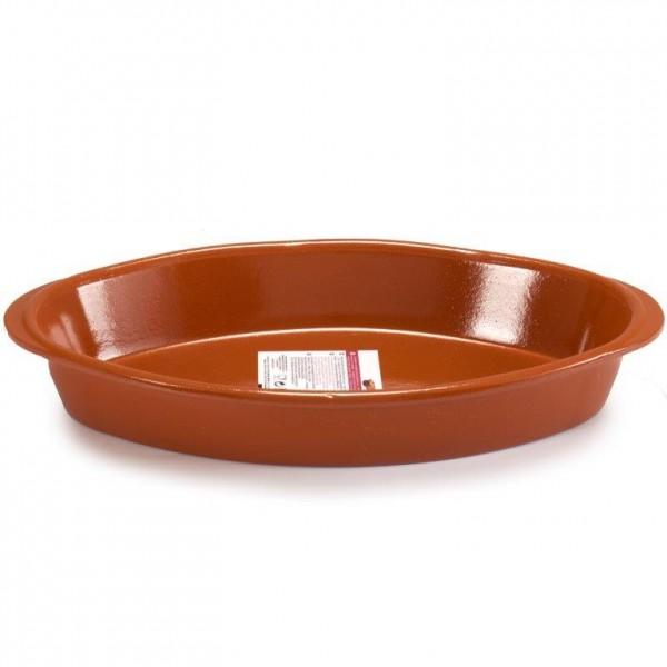 Ovale oder runde Auflaufformen aus Ton in Handarbeit veredelt