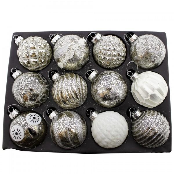 12 Stück Weihnachtskugeln aus Glas, silber Ø 8 cm
