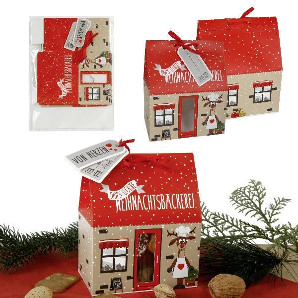 12 x Geschenkbox Kekshaus für Plätzchen (vier Modelle sortiert)