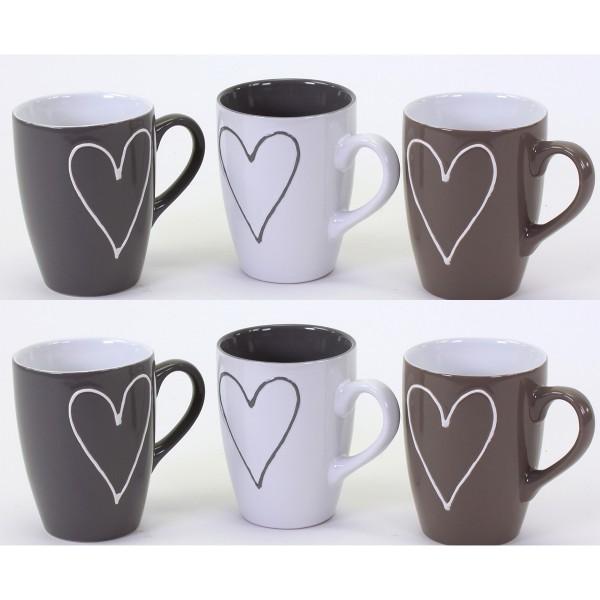 Tassen aus Keramik mit Herz 6-tlg. Set