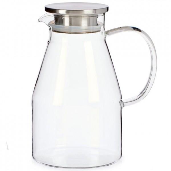 Karaffe aus Glas mit Deckel, mundgeblasen, 1,8 Liter