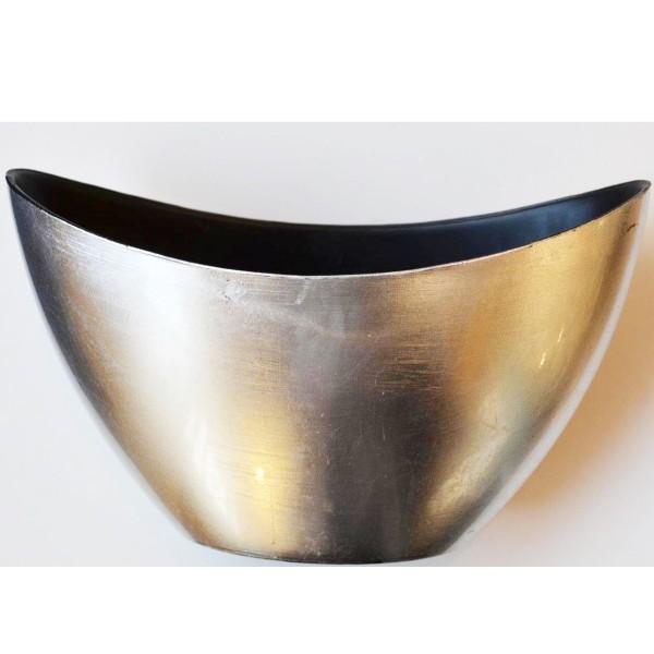 Dekoschale aus Kunststoff, silberfarben L 24 cm