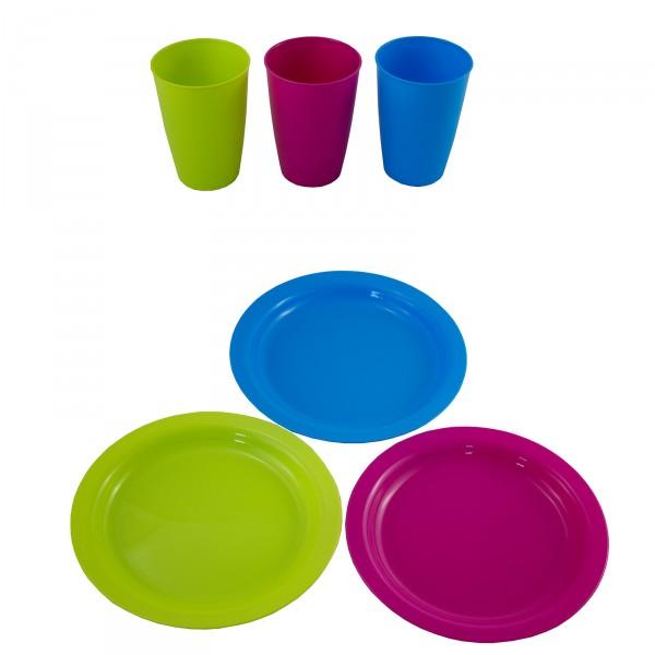 24 tlg.Set, Teller und Becher aus Kunststoff in drei fröhlichen Sommerfarben