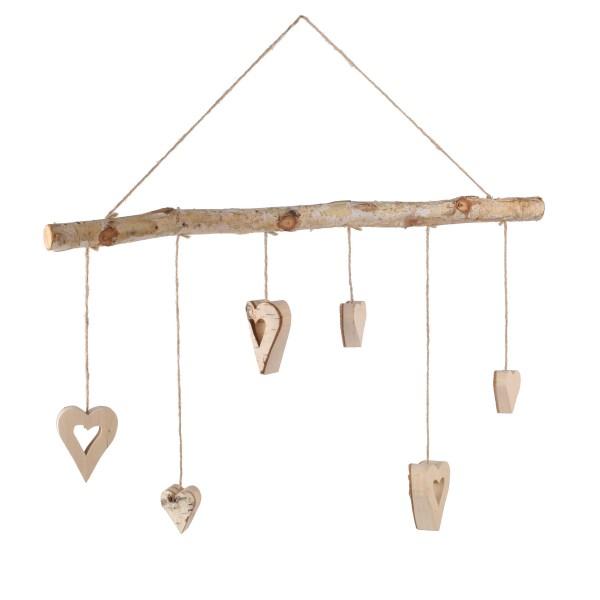 Birkenzweig mit 7 hängenden Herzen