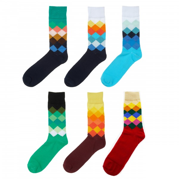 6 Paar lustige und bunte Socken in Damen- und Herrengrößen 70 % Baumwolle