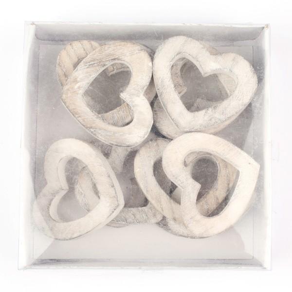 Herzen aus Holz 24 Stück 3,3 x 3,0 cm