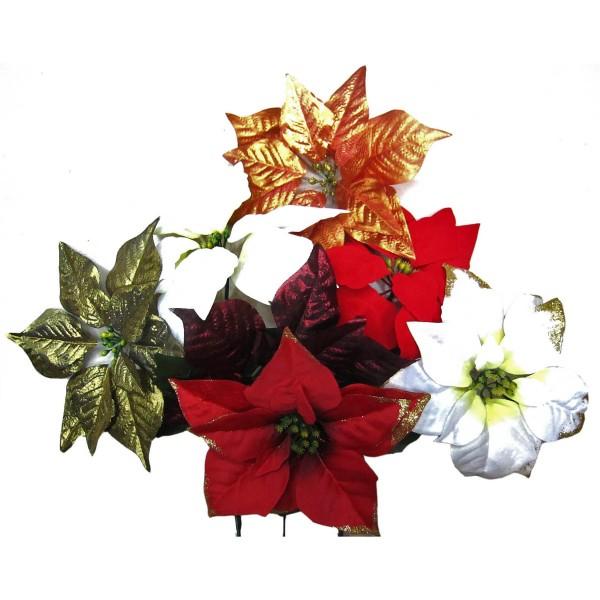 """6 x Blumen """"Weihnachtsstern"""" mit Stiel Ø 23 cm - L 60 cm, Mix aus Farben"""