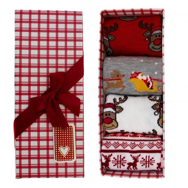 4 Paar Socken für Damen, Weihnachtsmotive - One Size mit Geschenkkarton