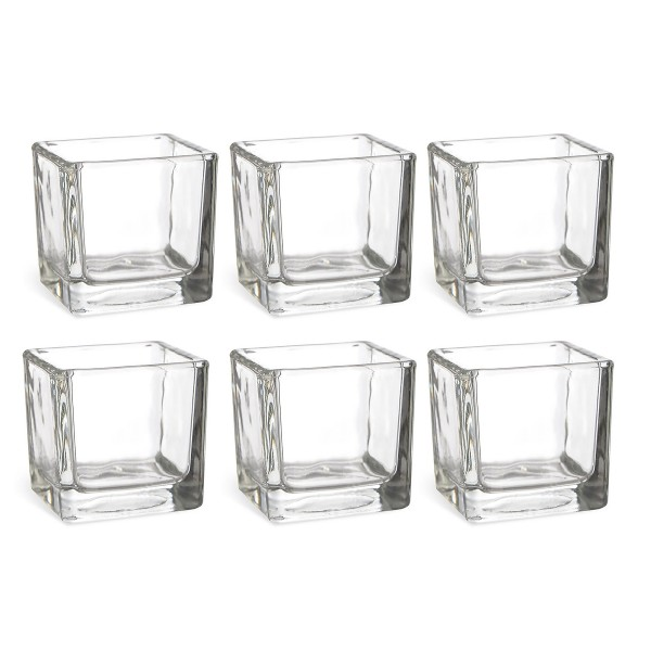 6 x XL Glaswürfel in schwerer Glasqualität 10 x 10 cm