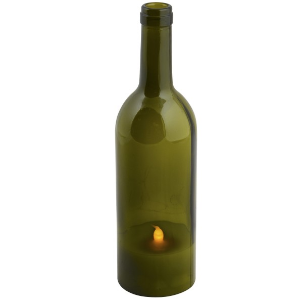 Dekolampe - Weinflasche mit LED-Echtwachskerze, batteriebetrieben H ca. 27 cm