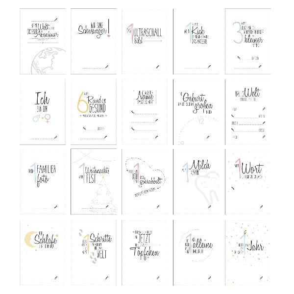 20-tlg. Set Meilensteinkarten Baby-Shower Glücksmomente der Schwangerschaft