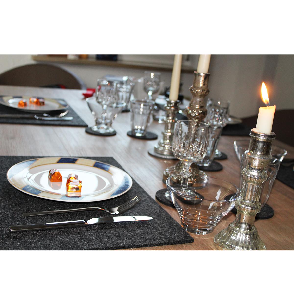 4 x tischsets aus filz dunkelgrau 30 x 45 cm annastore. Black Bedroom Furniture Sets. Home Design Ideas