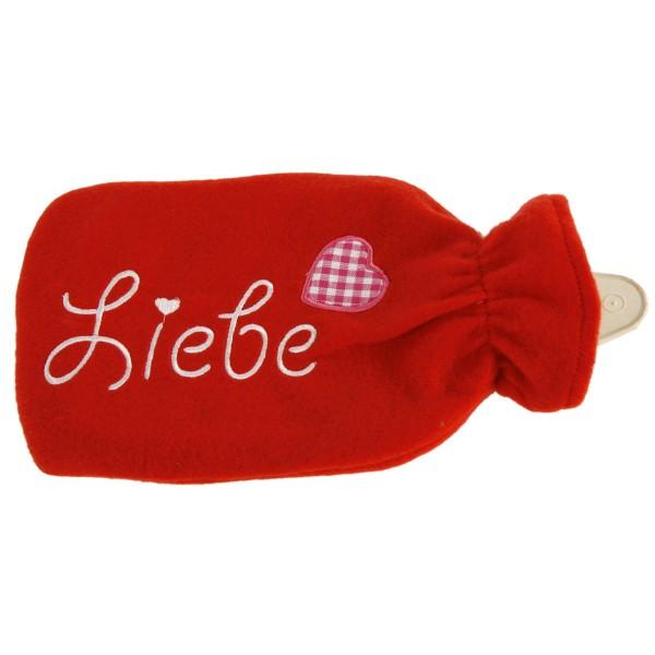 """Wärmflasche """"Liebe"""" mit Fleecebezug, 500 ml"""