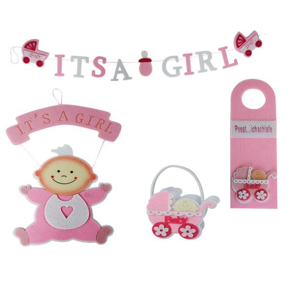 """4-tlg. Deko- und Geschenkset Baby """"Its A Girl"""""""