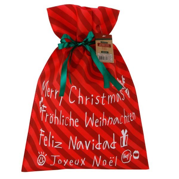 """5 x Geschenkbeutel """"Fröhliche Weihnachten"""" aus Stoff in verschiedenen Größen"""
