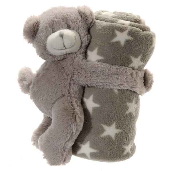 Babydecke mit Bär aus Plüsch, 75 x 75 cm