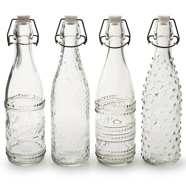 4 x Glasflasche mit Bügelverschluss als Vintage Vase