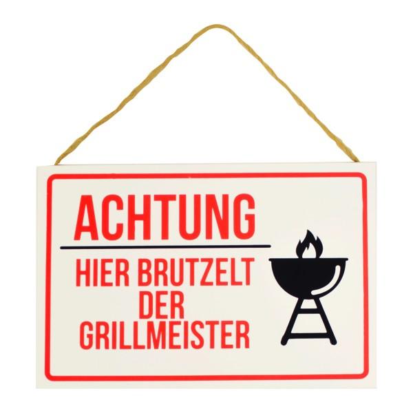"""Holzschild """"Achtung hier brutzelt der Grillmeister"""" zum Hängen"""