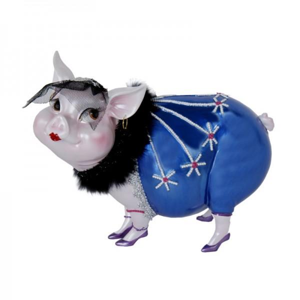 "Sparschwein ""Lady Piggy"" dunkelblau, 17 cm"