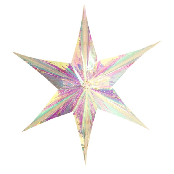 XXL Stern und Schneeflocke zum Hängen weiß-silber schimmernd Ø 38 - 58 cm