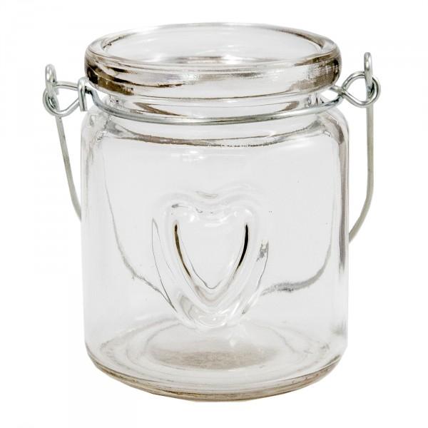 """12 x Windlichter aus Glas """"Herz"""" mit Henkel"""