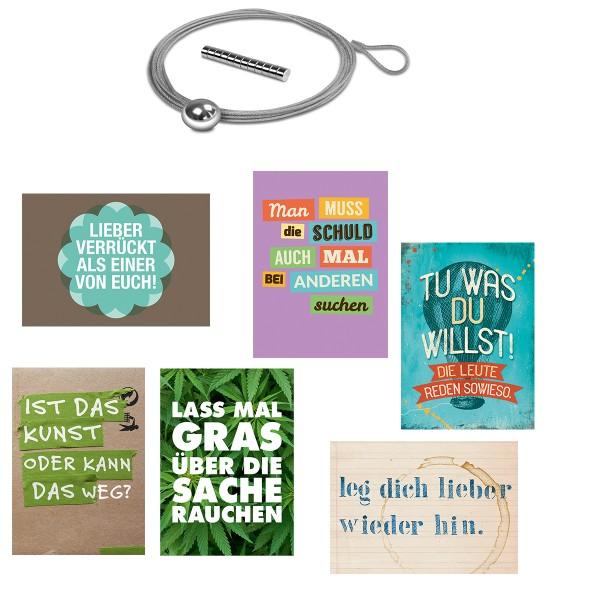6-tlg. Set Postkarten mit coolen Sprüchen inkl. Fotoseil