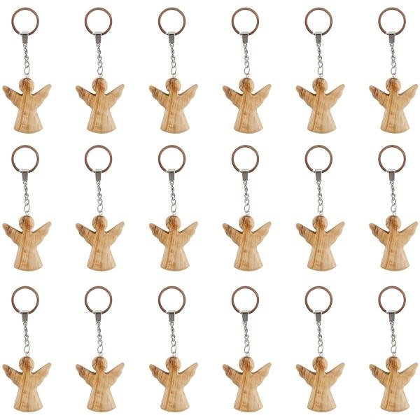 18 Stück Schutzengel Schlüsselanhänger aus Olivenholz, handgeschnitzt
