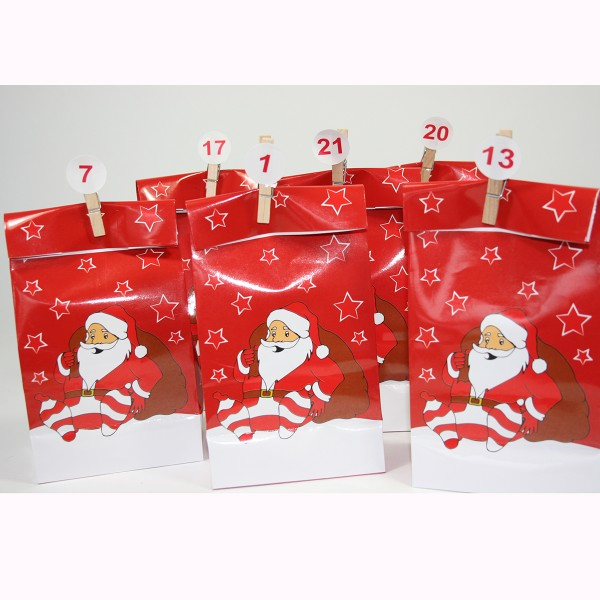 "Adventskalender ""24 Tüten"" mit 24 Mini-Holzklammern + Sticker"
